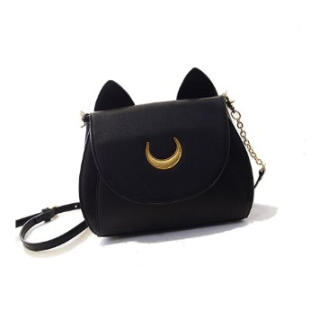Bonamana Cosplay Sailor Moon 20th Tsukino Usagi PU Leather Women Handbag Shoulder Bag (Black)